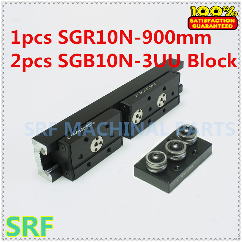 High quality Rectangle Roller Linear Guide Rail 1pcs SGR10N Length=900mm +2pcs SGB10N-3UU three wheel slide block for CNC part high rigidity roller type wheel linear rail smooth motion belt drive guide guideway manufacturer