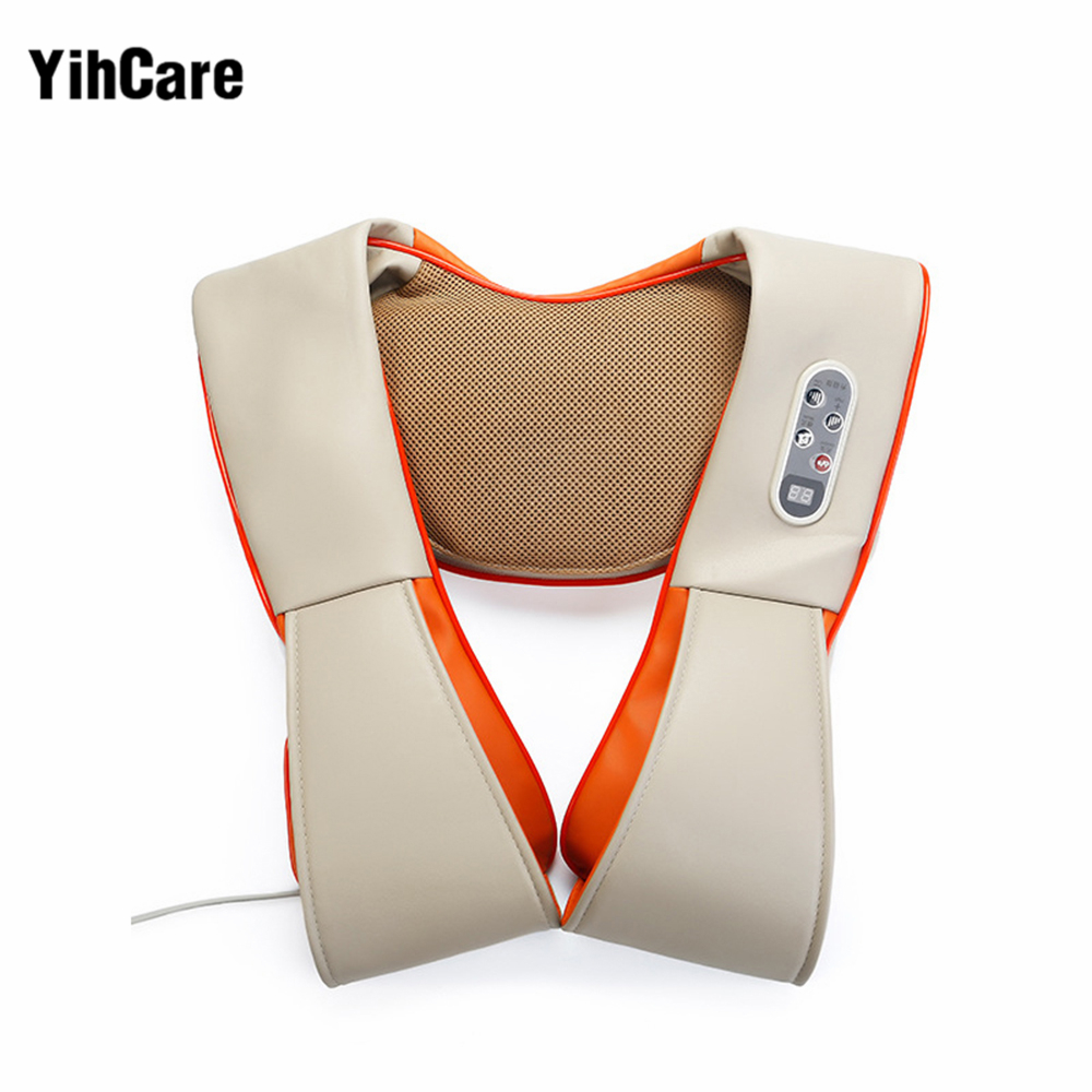 YihCare U Shape Electric Kneading Shiatsu Back Neck Shoulder Massager Pillow Full Body Infrared Heating Massager Car Home Relax car home dual use massager u shape electric shiatsu back neck shoulder body massager infrared 4d kneading massage body relax