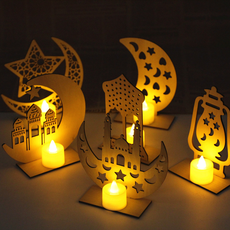 Wooden Ramadan Eid Mubarak Decorations Led Night Ligths Home Moon Star LED Candles Light Muslim Islam Hanging Pendant Decor