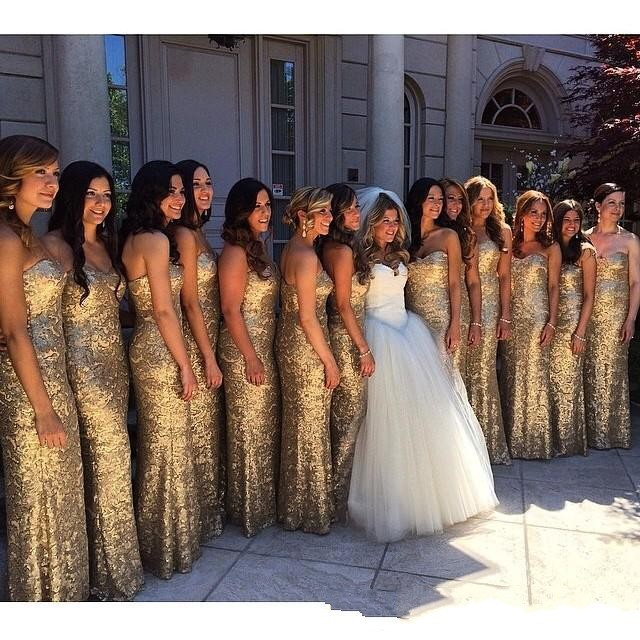 Popular Gold Sequined Sweetheart   Bridesmaid     Dresses  ,2015 Custom Made Formal Party Grown