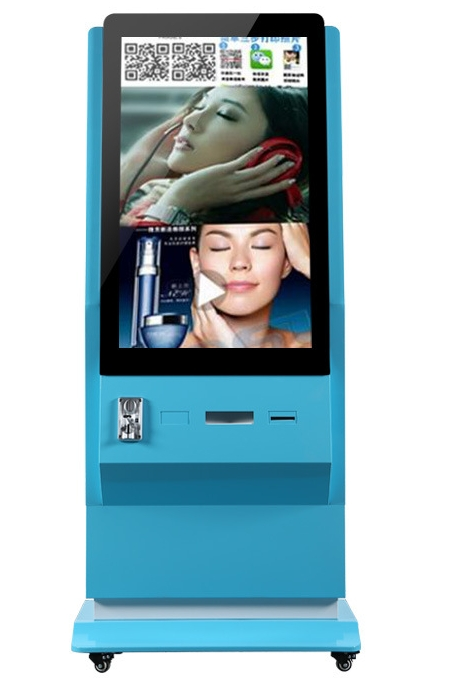 46 Inch 42 Inch Floor Standing Bill Coins Acceptor Kiosk Terminal LCD Advertising Display With Instant Photo Thermal Printer