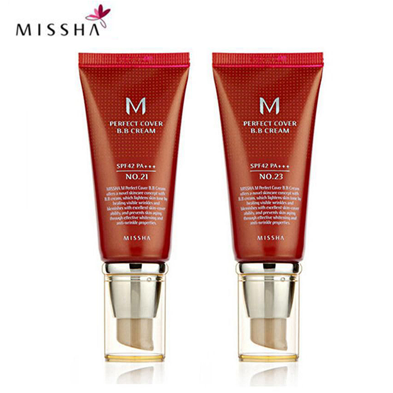 Missha M Perfect Cover BB Cream #21 Or #23 SPF42 Pa+++ 50Ml Korean Cosmetics Makeup Base CC Creams Whitening Original Package