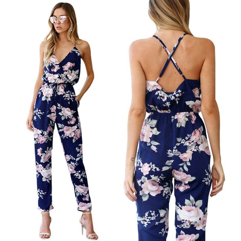 2020 BKLD Rompers Womens Jumpsuit Summer Ladies Blue Sexy Deep V Neck lace Up Sleeveless Floral Back Cross Casual Jumpsuit Femme