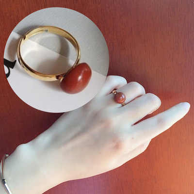Natural semi-precious stones gold ring palace restoring ancient ways ring south China redstone ring married women jewelry ring