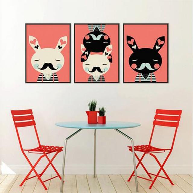535 58 De Réduction3 Lapin Noir Blanc Rouge Moderne Abstrait A3 Affiche Imprime Dessin Animé Animal Image Hipster Toile Peinture Enfants Chambre
