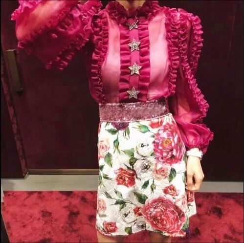 Lentejuelas Primavera La Alta Calidad Las Flores 2019 fucsia Faldas Verano Del Falda Cintura Con Corta De Mujeres Blanco vtqHAwxWvF