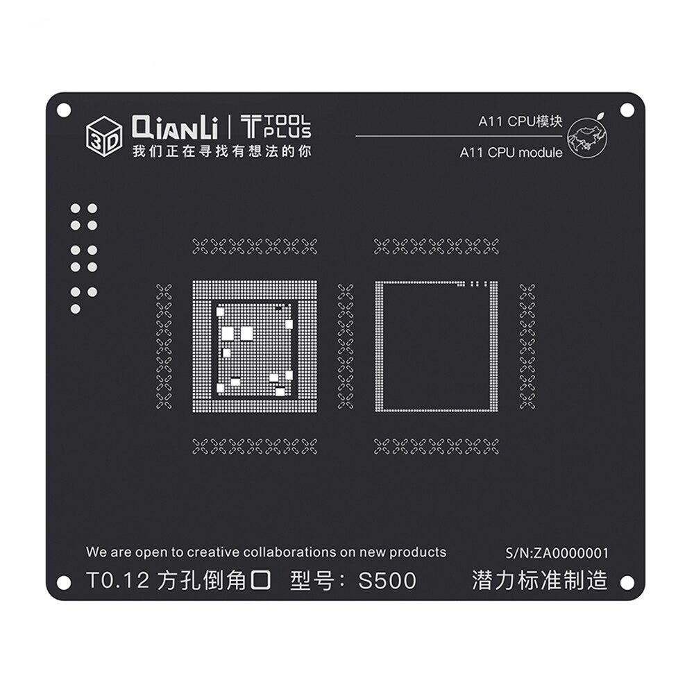 Kit BGA Reballing Stencil para iPhone A7 3D Preto A8 A9 A10 A11 CPU Template Aço Inoxidável de Solda de Solda Líquida placa