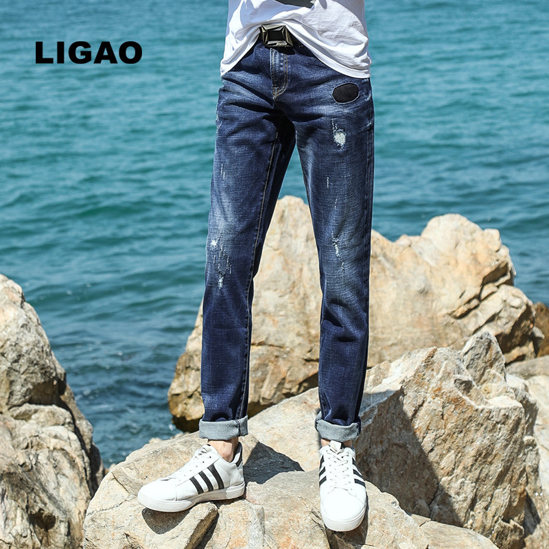 LIGAO Official Store LIGAO 2017 Men's Jeans Denim Blue Casual Slim and Bound Leg Styles Ripped Scratched Pencil Pant Trousers  Male Mens Denim Jean