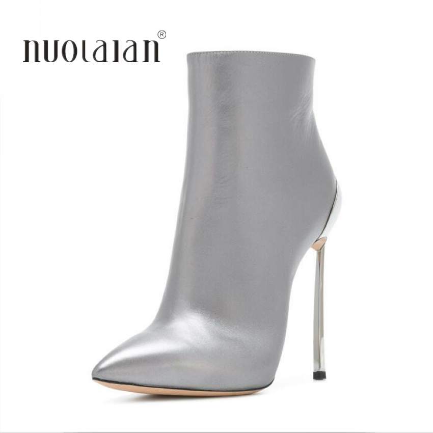 2018 Winter Women Boots Warm Short Plush Ankle Boots Zipper Stiletto Pointed Toe Sexy Woman Shoes High Heels Boots Black Silver black ankle boots women high heels pointed toe sexy snow boots woman shoes rivets zipper winter women boots botas mujer us35 40