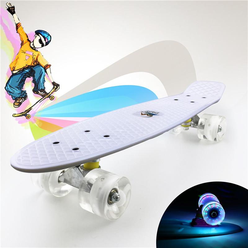 "Pastel Simple Color 22"" Style Skateboard Child Cruiser Mini Plastic Fish Skate Long Board With Shining Wheels-in Skate Board from Sports & Entertainment"