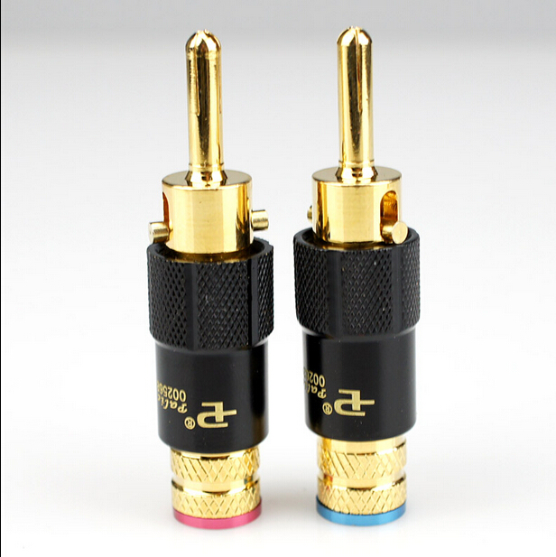 4 pcs Copper 24K Gold Plated Pailiccs banana plug  Audio Connector male adapter free shipping 3 5mm male to female gold plated copper adapter silvery white golden