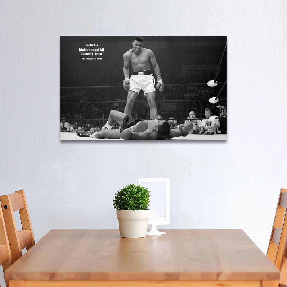 WANGART Hitam Putih Kutipan Poster Megah Juara Kelas Berat Kanvas Gambar Ruang Tamu Bar Kantor Dekorasi Rumah