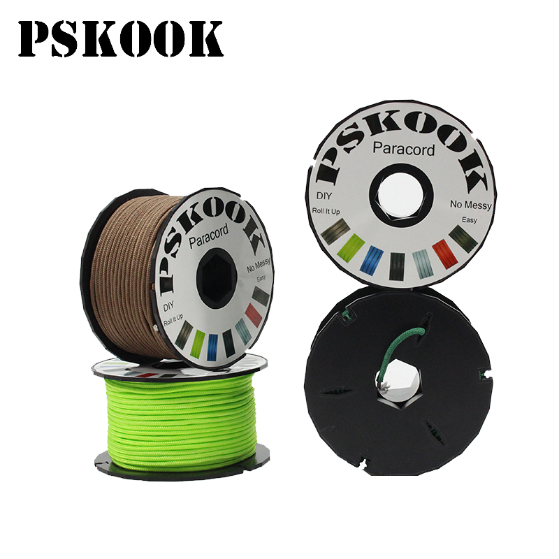 PSKOOK Mil Spec Type I 3 Strand Core 100 feet (31m) Parachute Lanyard Paracord Micro Tactical Cord Winder Outdoor Survival Craft