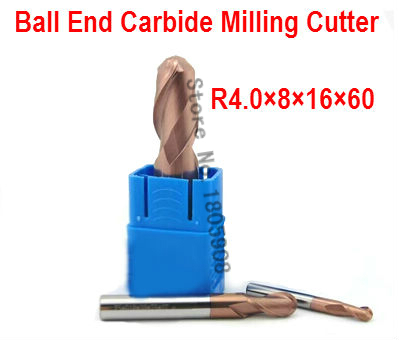2 Flutes Milling Tools Milling Cutter Ball Nose End Mill Cnc Router Bits Hrc55 R4*16*d8*60l