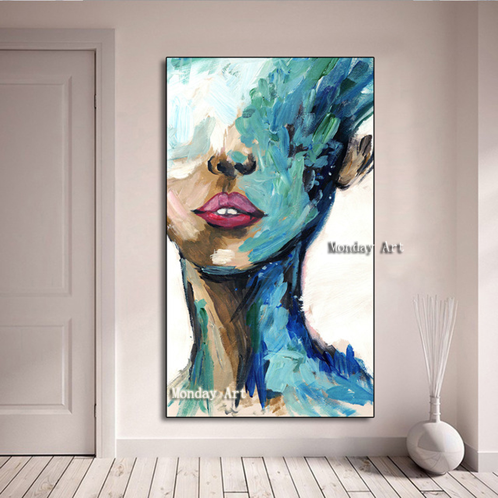 large size Hand Painted Knife figure Oil Painting handmade girl face Picture Canvas Painting For Living Room Bedroom Wall Decora
