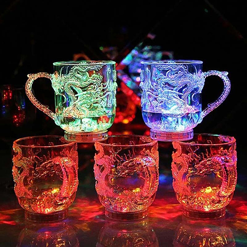 LED Flashing Color Change Water Activated Light Up Dragon Beer Whisky Cup Mug