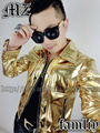 2016 new style fashion gold PU leather male dj singer slim jacket decorative ds lead show stage performance show outerwear coat
