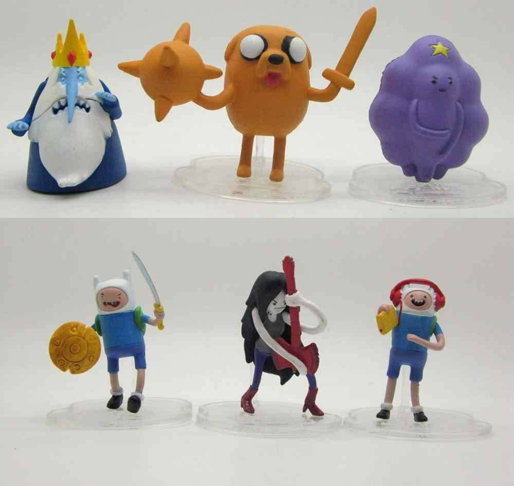 6 pcs JAZWARES brinquedo jake finn Adventure Time NEW action figure ice rei A66M