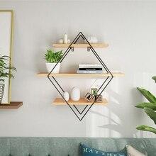 עץ ברזל קיר אחסון מדף קיר רכוב אחסון מתלה ארגון למטבח חדר שינה בית תפאורה קיד חדר קיר תפאורה מחזיק