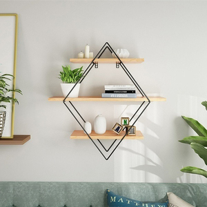 Image 1 - Wooden Iron Wall Storage Shelf Wall Mounted Storage Rack Organization For Kitchen Bedroom Home Decor Kid Room Wall Decor Holder