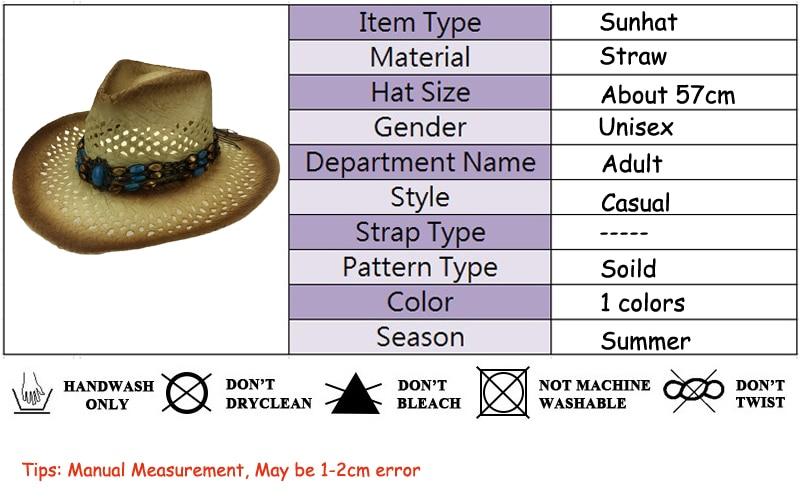 Amplia Curling sombrero vaquero de paja huecos occidental sombrero ... 472d852f768