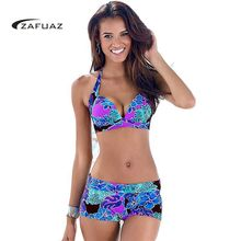 2017 Women 2 Pcs Halter Print Floral Tankini Swimsuit Brazilian Push Up Bikini Set Retro Bath Suit Plus Size Swimwear Shorts 3XL plus size halter pineapple tankini set