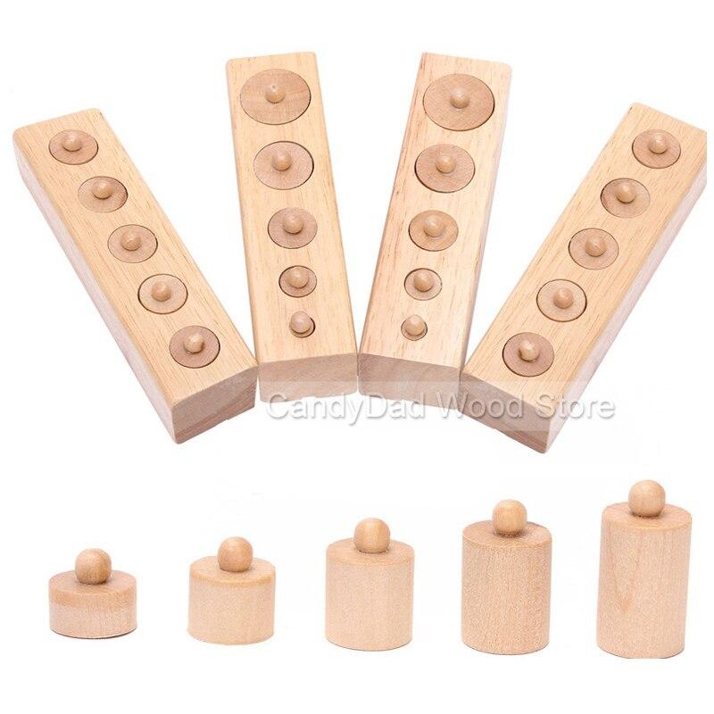 ୧ʕ ʔ୨material montessori Wooden Toys For Children Math Cylinder ...