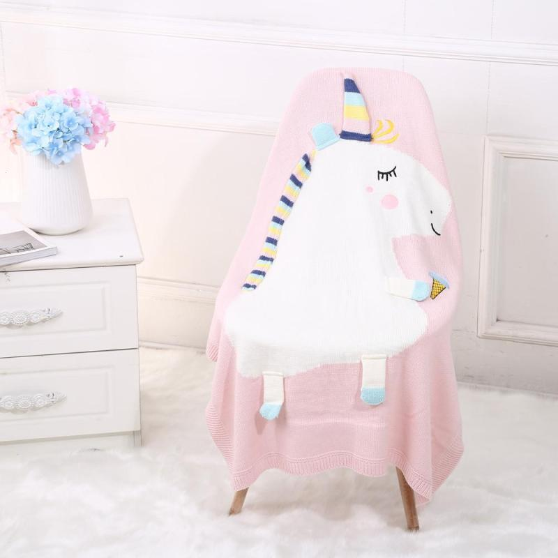Unicorn Baby Blanket For Newborns Super Soft White Pink Blue Knitted Blanket For Children Cute Knitting Wool Baby Bed L50