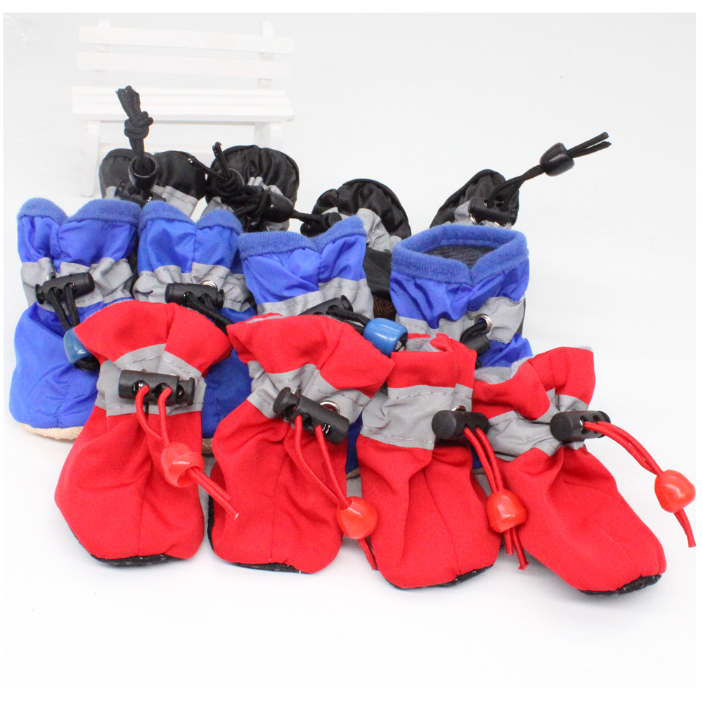 4pcs/set Waterproof Anti-slip Pet Shoes For Small Dogs Cats Chihuahua Yorkie Thick Snow Dog Boots Socks