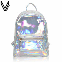 VEEVANV Newest 2017 Summer Silver Hologram Laser Backpack Girl School Shoulder Bags For Teenage Girls Mochilas