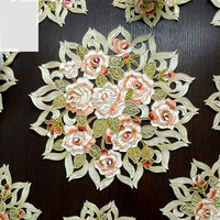 3PCS/set classic embroidered rose cabinet Table Hollow Decoration Accessories Placemat Coffee table mat Pads M568
