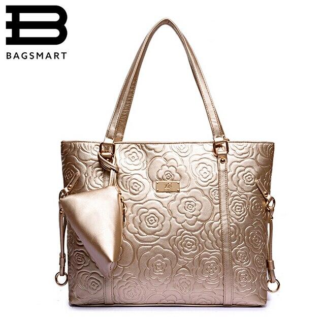 BAGSMART 2016 Floral Bolsa de Ouro Bolsa de Ombro Famosas Bolsas de Marca de Couro das Mulheres Sacos Do Mensageiro Das Mulheres Bolsa Com Carteira Pequena