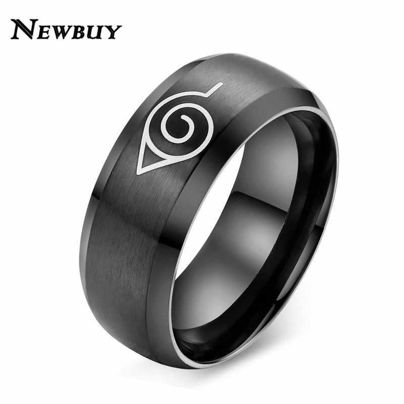 NEWBUY 2019 אופנה נארוטו טבעת שחור צבע מגניב גברים פאנק תכשיטי נירוסטה אנימה טבעת Dropship