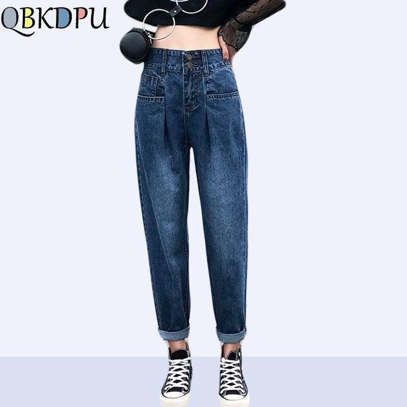 Women Plus Size Loose High Waist Washed Light Blue Black True Denim Pants Boyfriend   Jean   Femme For Female Harlan   jeans   2019 New