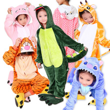 Winter Warm Flannel Pyjamas Kids Long sleeve Cartoon Animal Cosplay Children's Onesie Unicorn Girls Boys Long Pajamas For Kids