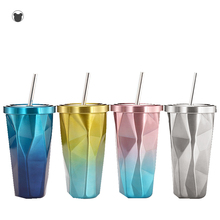 304 stainless steel coffee mug ice cup with straw shaker cool water bottle travel Private custom