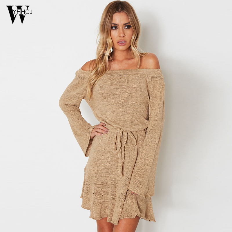 WYHHCJ New Autumn Winter Sexy Off The Shoulder Mini Women dress Colors