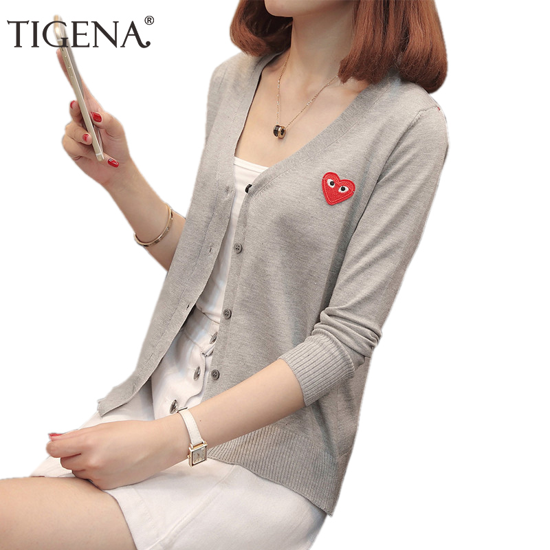TIGENA 2018 Summer Autumn Cardigan Women Casual Single Button Long SLeeve Knitted Cardigans Female Black White Red Jacket Women