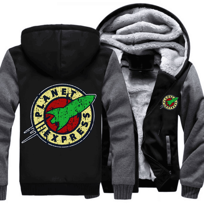 Drop shipping USA Size Adult Men Women Planet Express Thicken Hoodie Zipper Coat Winter Fleece Warm