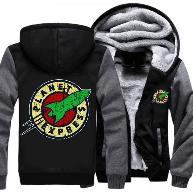 Envío ee.uu. tamaño adulto hombres mujeres Planet Express thicken HOODIE zipper coat invierno fleece con capucha caliente Chaquetas envío libre