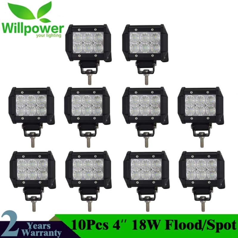 10pcs 4 Inch 18W led driving light 18W LED Light Bar Spot Flood 12v 24v LED work light bar 4x4 For uaz niva 4x4 18w 1440lm 6500k 25 degree spot beam 6 led work light bar 10 30v