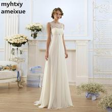 זול תחרה סקסי חתונת שמלת 2020 בהריון לבן פשוט שיפון כלה שמלת אימפריה שרוכים חדש לבוש הרשמי Vestido דה Noiva