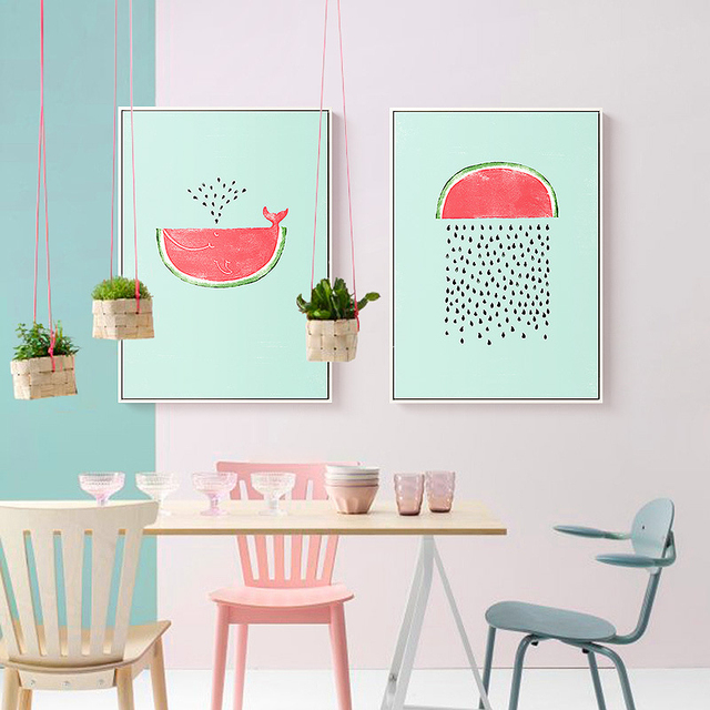 watermelon seed rain fountain theme murals modern canvas wall picture light blue pink based art poster