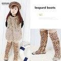 Koovan Niños Botas 2017 Zapatos de Los Niños Niñas Botas Zapatos de Bebé Leopardo de Impresión Sobre La Rodilla Altos Zapatos de la Princesa
