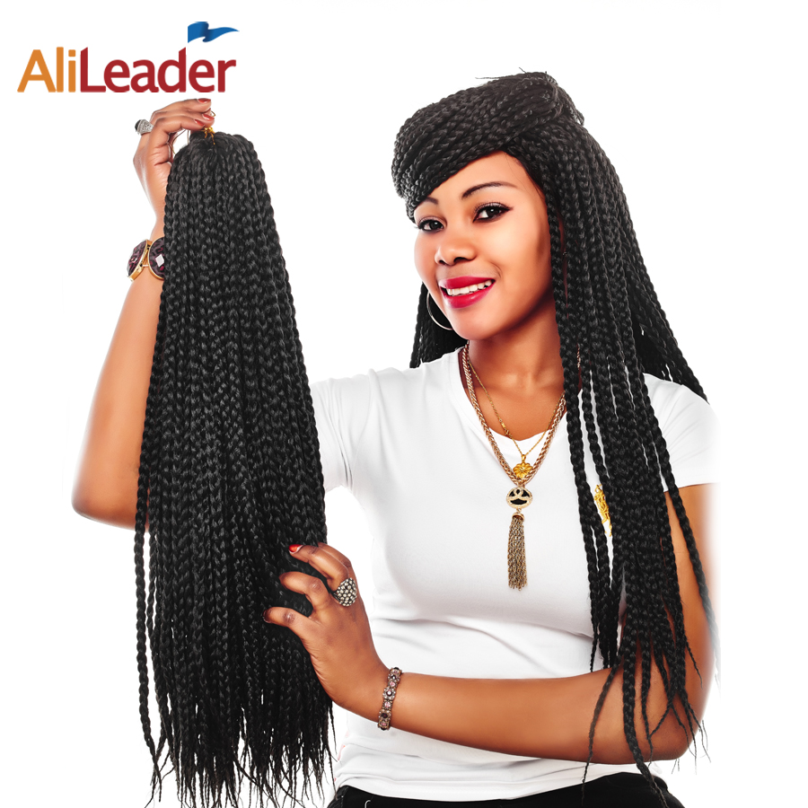 AliLeader 12-30 Inch Crotchet Box Braids Hair Extensions 22 Strand Long Black Brown Ombre Synthetic Crochet Braiding Twist Hair