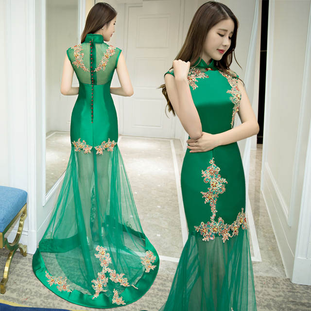 placeholder chinese traditional qipao dress sleeveless women wedding gown  fishtail sequin long mermaid green china cheongsam red 684532d83686