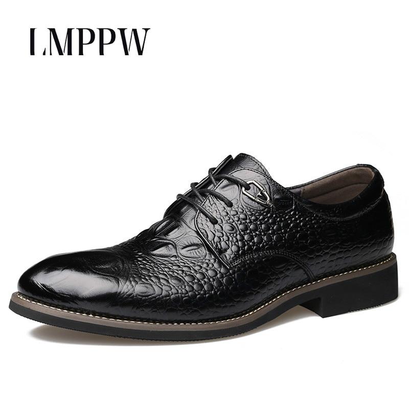 new product 0178b e7130 US $31.2 48% OFF|2018 neue Luxus Herrenschuhe Business Kleid Krokodil Leder  herren Schuhe Mode Wies Oxford Schuhe Schwarz Gelb Männer wohnungen 2A-in  ...
