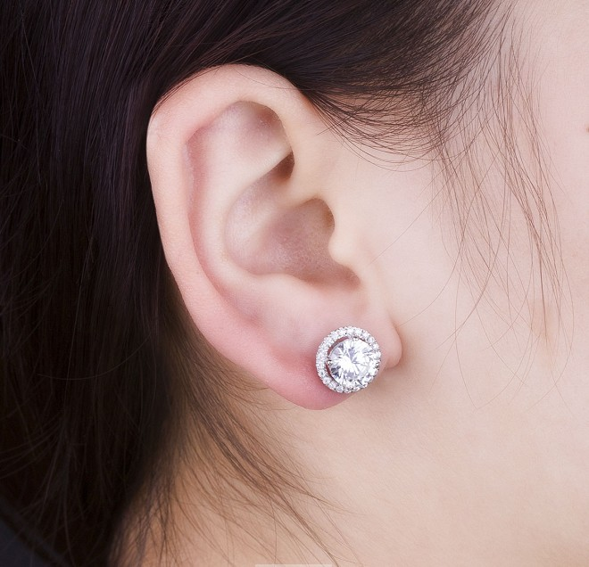 Excellent Pure 14k White Gold Earrings 1ct Piece Round Cut Halo Style Simulate Diamond Au585 Stud For Lady In From Jewelry