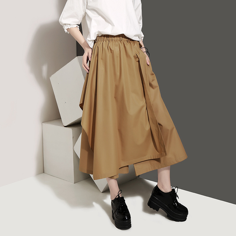 Johnature Summer New Solid Color Patchwork Women loose   Pants   Leisure High Street Calf-length Elastic Waist   Wide     Leg     Pants   2019