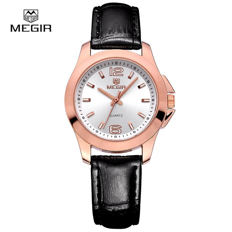 Prix pour Top marque Megir quartz montre homme femme mode véritable en cuir résistant à l'eau montres 5006 livraison gratuite